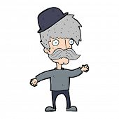 stock photo of bowler hat  - cartoon man wearing british bowler hat - JPG