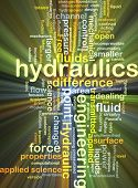 foto of hydraulics  - Background concept wordcloud illustration of hydraulics glowing light - JPG