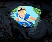 image of rabbit hole  - Illustration of Alice looking to the hare hole - JPG