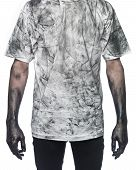 stock photo of doughy  - Man in dirty shirt isolated on white background - JPG