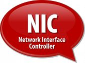 image of nic  - Speech bubble illustration of information technology acronym abbreviation term definition NIC - JPG