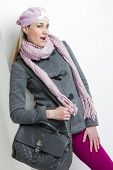 picture of leggins  - portrait of woman wearing winter clothes with a handbag - JPG