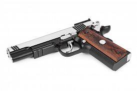stock photo of pistols  - Gun pistol isolated on white background - JPG