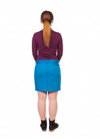 picture of jeans skirt  - back view standing young beautiful  woman in jeans - JPG