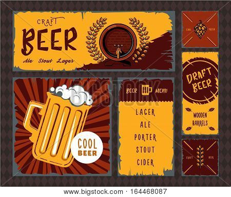 Vintage Craft Beer Banner Set Vector Retro Draught Ale Poster Pub