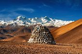 foto of cho-cho  - Tibetan landscape with mount Cho Oyu on background - JPG