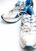 Pair of running shoes on a white background