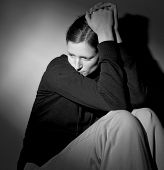 foto of nervous breakdown  - Young woman suffering from severe depression - JPG
