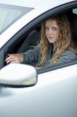 Pretty young woman driving her brand new car (color toned image) poster