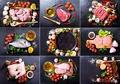 Collage Of Fresh Products For Cooking poster