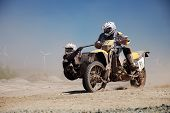 pic of sidecar  - Motorcycle with a Sidecar in an offroad Race in the desert - JPG