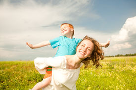 picture of mother child  - Mother and Son Having Fun - JPG