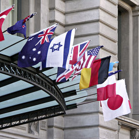 stock photo of flags world  - World flags at building entrance - JPG