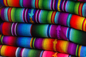 image of green-blue  - Colorful blankets at a mayan market in the highlands - JPG
