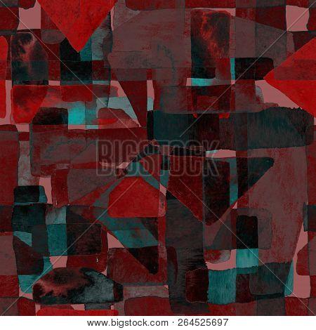 poster of Bauhaus Pattern. Pink Red Geometric Watercolor Abstract Seamless Print. Watercolour Stripe Backgroun