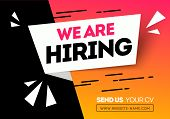 Vector Illustration Hiring Tecruitment Design Poster. We Are Hiring Geometric Shapes. Open Vacancy D poster