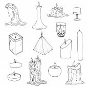Big Vector Set Of Creative Hand Drawn Scented And Melted Wax And Gel Candles. Black Sketch Elements  poster