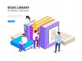Book Library Isometric. Internet Archive Concept And Digital Learning For Web Banner. E Library Vect poster