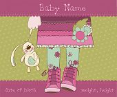 stock photo of newborn baby girl  - Baby girl arrival announcement card with plush rabbit - JPG