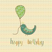 image of happy birthday card  - Greeting Birthday Card with Cute Bird holding Balloon  - JPG