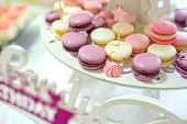 The Candy Bar, White, Purple And Pink Macarons, Close View poster