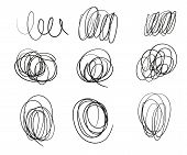A Set Of Drawn Round Lines Of Doodles Of Different Thickness. Hand Drawn Scrawl Sketch. Vector Desig poster