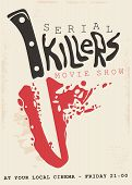 Retro Poster Design Concept For Serial Killers Movie Show. Vintage Sign With Bloody Knife And Blade  poster