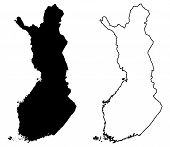 Simple (only Sharp Corners) Map Of Finland Vector Drawing. Mercator Projection. Filled And Outline V poster