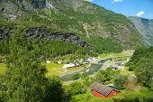 Myrdal-flam, Norway - July 16, 2018: Breathtaking Norwegian Fjord And Mountain Landscapes During The poster
