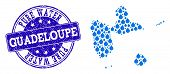 Map Of Guadeloupe Vector Mosaic And Pure Water Grunge Stamp. Map Of Guadeloupe Composed With Blue Wa poster