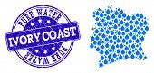 Map Of Ivory Coast Vector Mosaic And Pure Water Grunge Stamp. Map Of Ivory Coast Designed With Blue  poster
