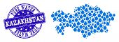 Map Of Kazakhstan Vector Mosaic And Pure Water Grunge Stamp. Map Of Kazakhstan Formed With Blue Wate poster