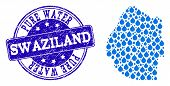 Map Of Swaziland Vector Mosaic And Pure Water Grunge Stamp. Map Of Swaziland Composed With Blue Wate poster