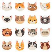 Cute Cats Faces. Happy Animals, Funny Kitten Smiling Mouth And Crying Sad Cat. Animal Character Face poster