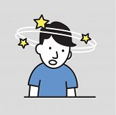 Confused Boy Seeing Spinning Stars. Loss Of Consciousness Flat Design Icon. Flat Vector Illustration poster