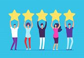 Five Stars Rating Concept. Positive Customer Review Feedback. People With Gold Stars In Hands. Busin poster