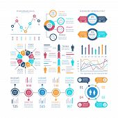 Infographic Charts. Infochart Elements, Marketing Chart And Graphs, Bar Diagrams. Step And Option Pr poster