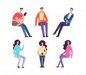 People Sitting. Girl And Boy Sit On Chairs. Cartoon Vector Characters Set. Woman And Man Sit And Wai poster