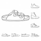 Isolated Object Of Shoe And Footwear Logo. Set Of Shoe And Foot Stock Symbol For Web. poster