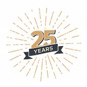 Twenty Five Anniversary Retro Vector Emblem Isolated Template. Vintage Logo 25th Years With Ribbon A poster