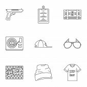 Street Rap Icon Set. Outline Set Of 9 Street Rap Vector Icons For Web Design Isolated On White Backg poster