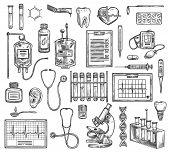 Medical Surgery, Hospital Therapy Medicine Equipment. Vector Sketch Of Cardiology, Cardiogram, Otola poster