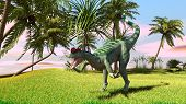 image of dilophosaurus  - dilophosaurus in savanna - JPG