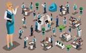 Isometric Set 3, Bank Icons With Bank Employees, Woman Bank Worker, Customer Service Manager. Financ poster