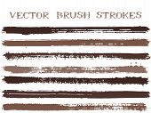 Funky Ink Brush Strokes Isolated Design Elements. Set Of Paint Lines. Dirty Ink Brushe Stripes Isola poster