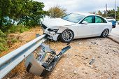 Crashed Car With Deflated Airbags After Accident Finished On Road Crashed Barrier poster