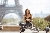 Happy Travel Woman Near The Eiffel Tower, Paris. Travel Tourist Girl On Vacation Resting Happy Outdo poster