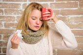 Remedies Should Help Beat Cold Fast. Woman Feels Badly Ill Sneezing. Girl In Scarf Hold Tissue Or Na poster