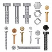 Steel Screws Bolts. Vise Rivets Metal Construction Hardware Tools Vector Realistic Pictures. Steel B poster
