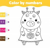 Coloring Page With Cute Giraffe Color By Numbers Printable Activity, Mathematics Game For Toddlers poster